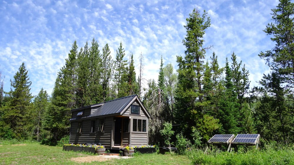 Tiny home in meadow on edge of forrest with solar panels