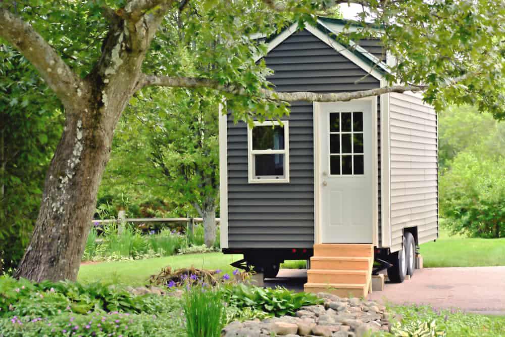 Eco-friendly tiny home on wheels.