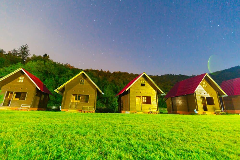 A row of tiny homes.