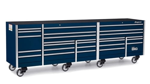A dark blue 144 inches, 26-drawer five bank EPIQ Series Roll Cab with PowerDrawer and ECKO Remote Lock Snap-on tool box.