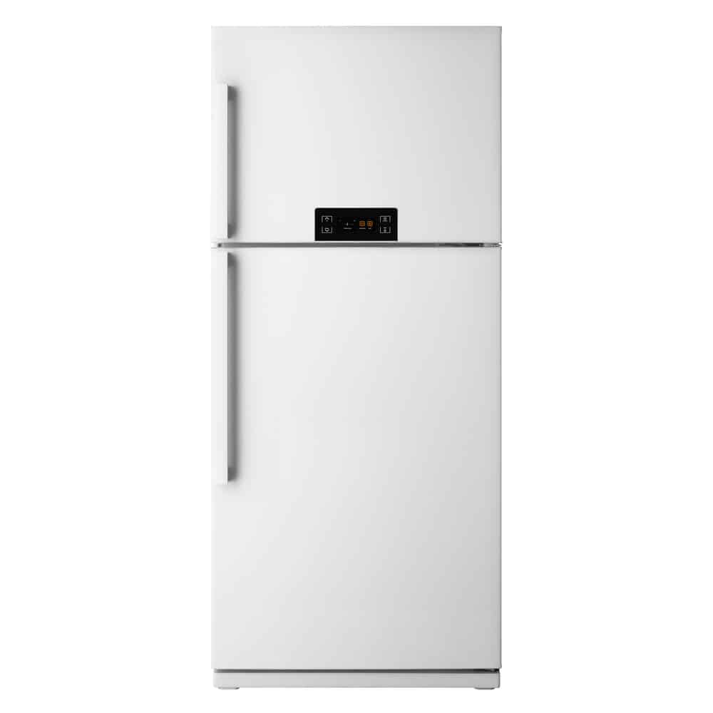 White top-mount fridge freezer isolated in white background.