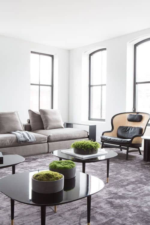 Another look of the living room showcasing the contemporary coffee tables and rug. Photo Credit: Sarah Elliot