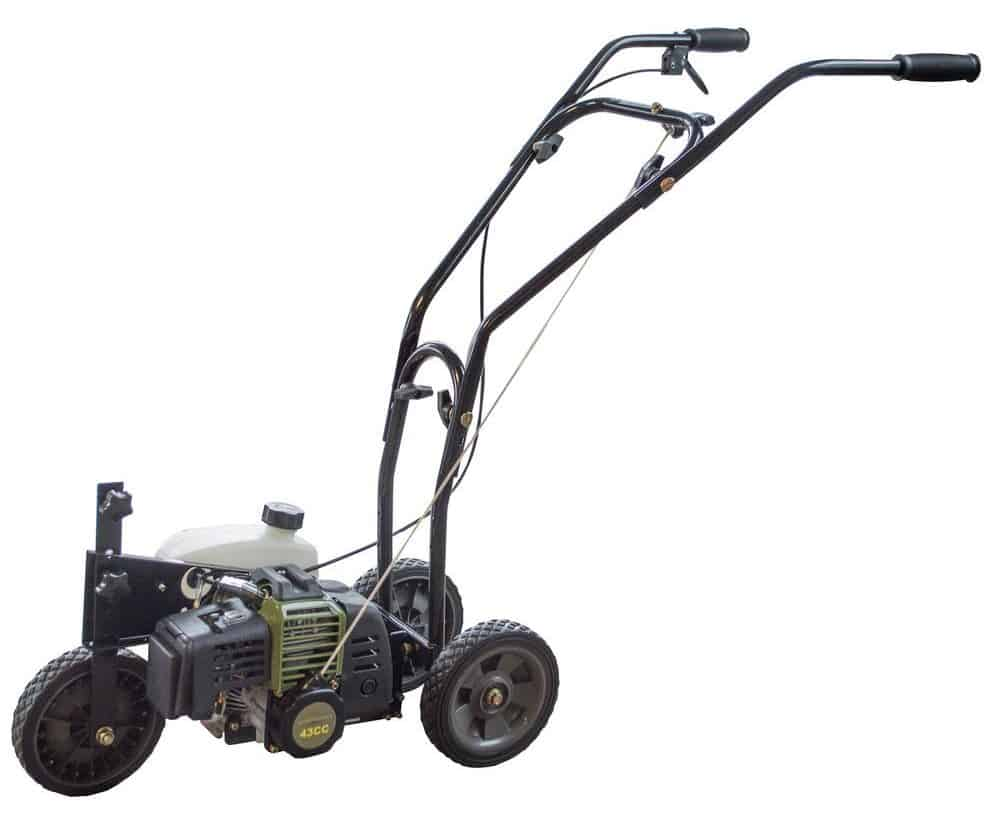 Gas lawn edger with a two-cycle engine.