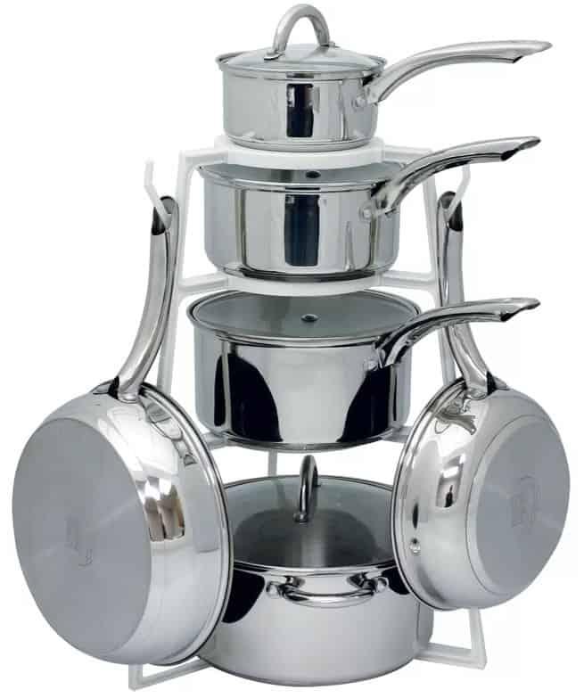 Pot, saucepans and pans on white plastic under counter pot rack.