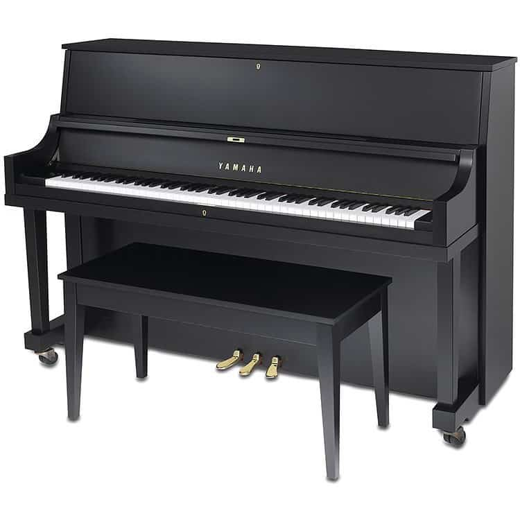 Black-painted upright piano