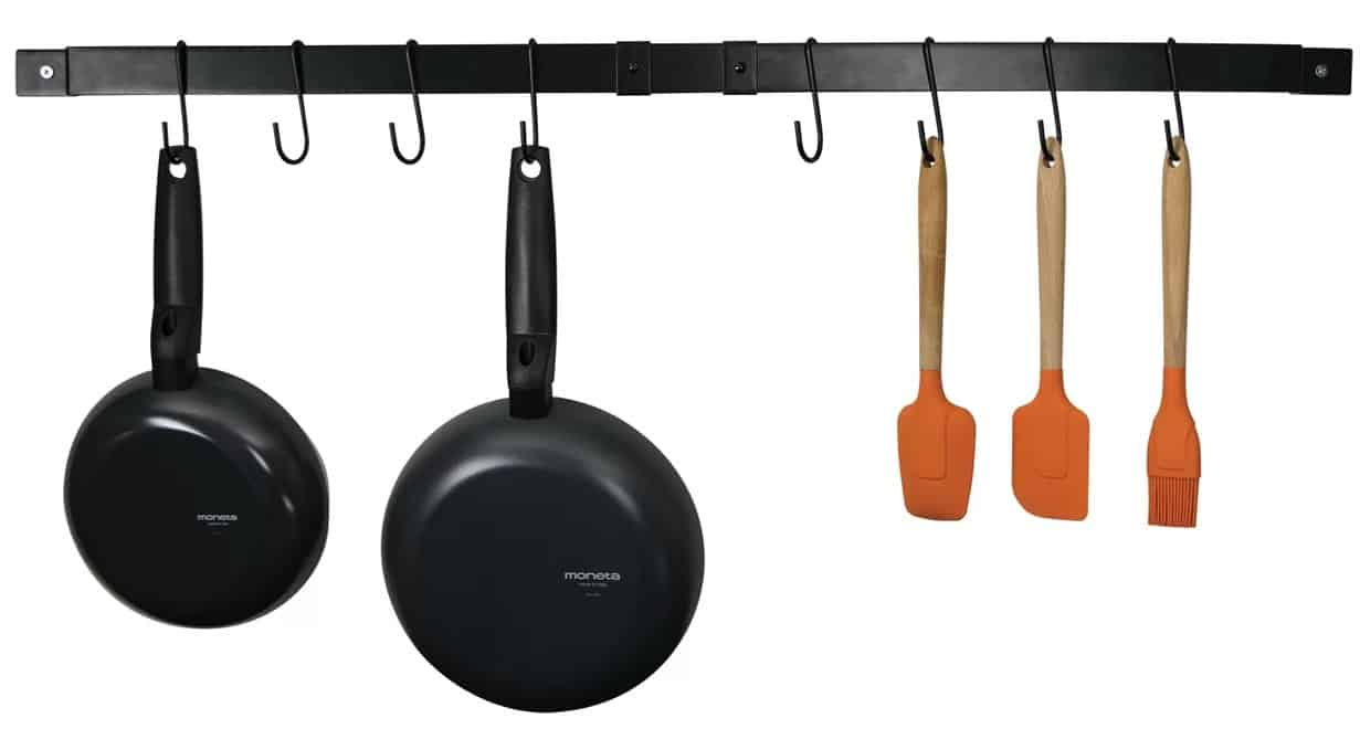 Expandable, wall mounted pot rack easily adjusts to your space and needs.