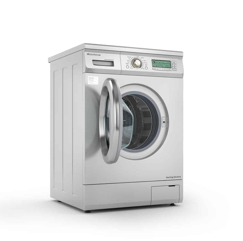 Opened modern washing machine in metallic color in a white background.