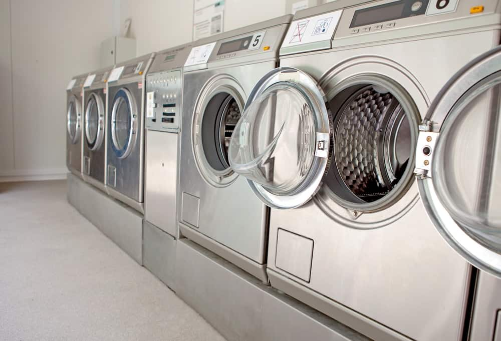 Row of washing machine of laundry business in the public store.
