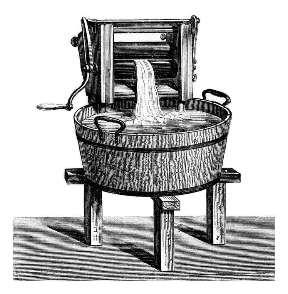 An illustration of a vintage engraved wringer washing machine.