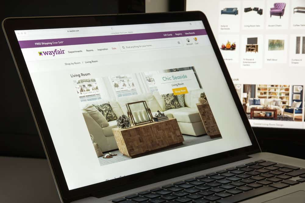 The website of Wayfair.