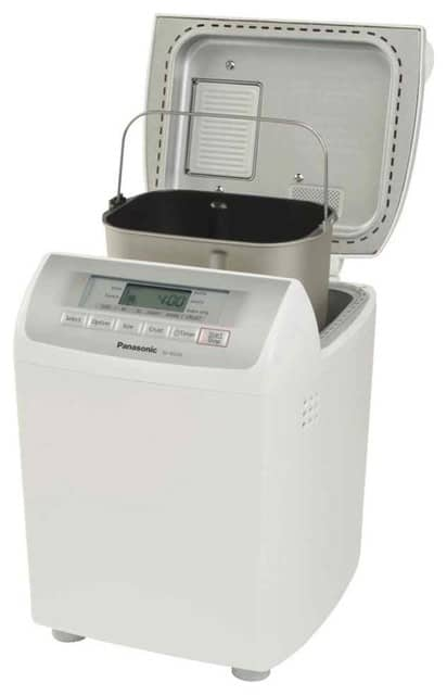 White bread machine that can create one or two pound loaves.