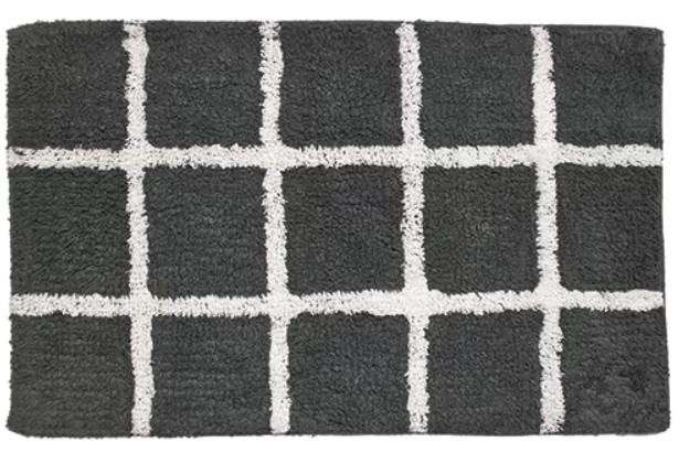Interior mat in a black and white design.