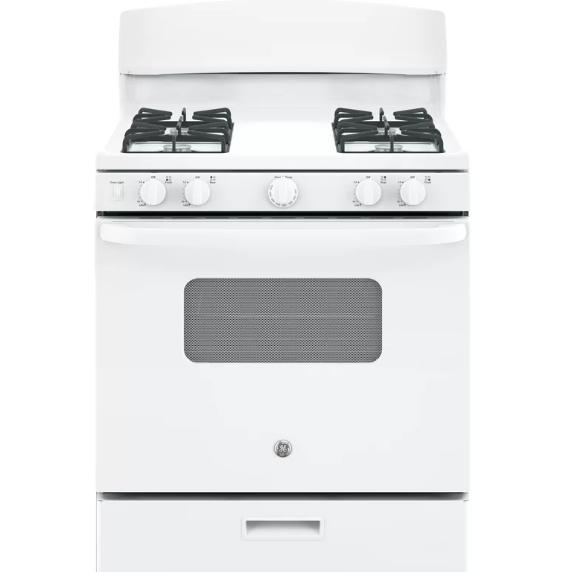 White, free standing, gas cooktop.