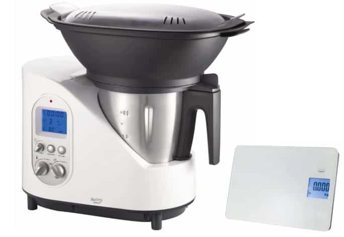 Food processor with boiler for cooking.