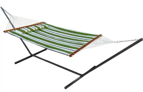 White and green, reversible hammock.