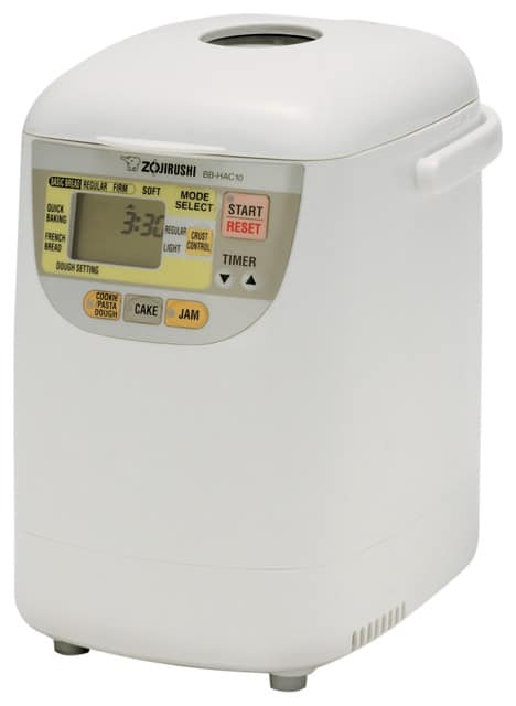 Bread machine with a white,plastic material.