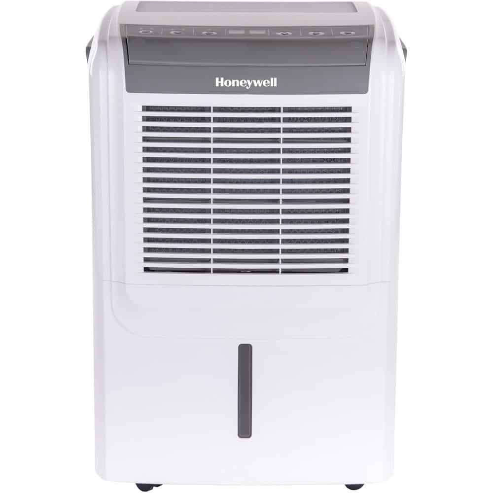 White, portable dehumidifier with LCD.