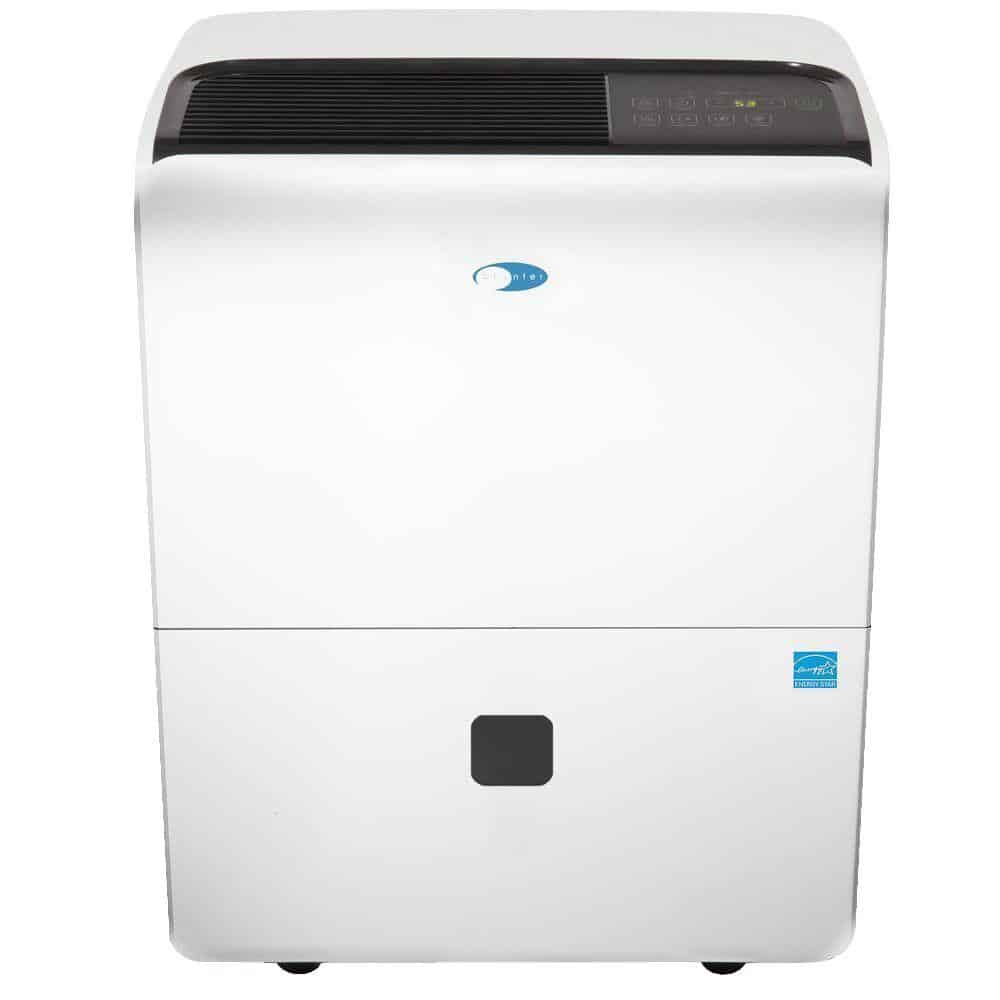 A portable dehumidifier in White.