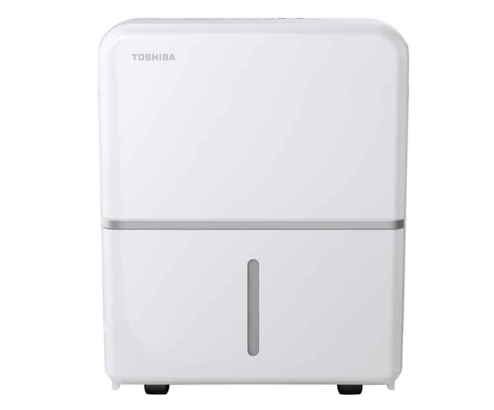 White, refrigerator-style dehumidifier for homes and offices.
