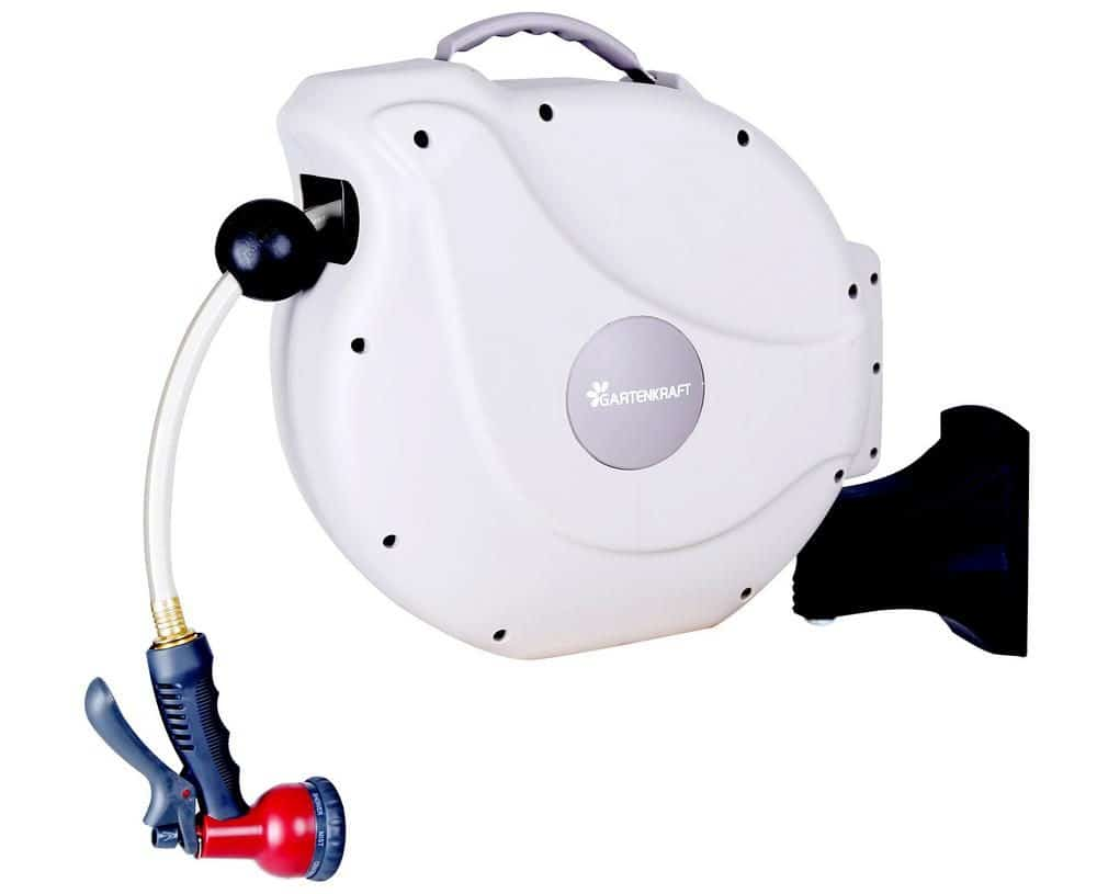 White, retractable garden hose with a built-in storage.