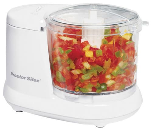 Single-speed, small food processor in White.
