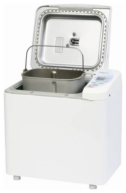 White bread maker with a yeast dispenser.
