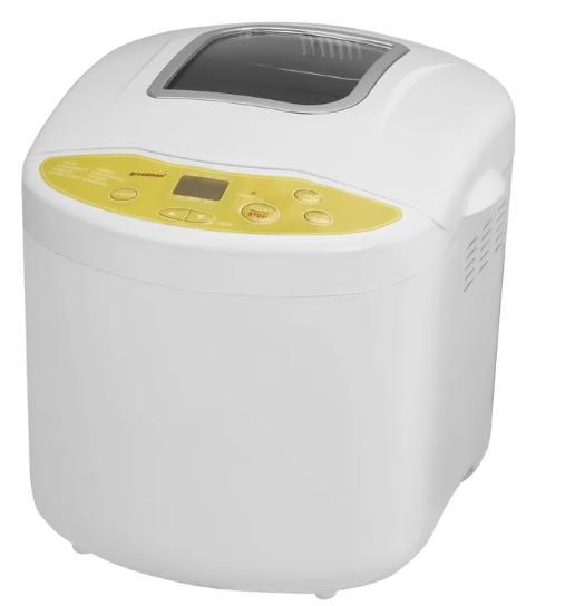 White, non-stick bread machine with a yellow accent.