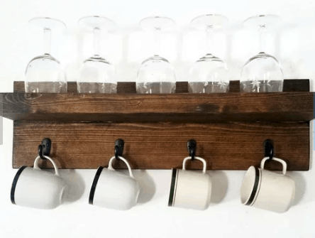 Wine glass and coffee mug floating shelf (wood)