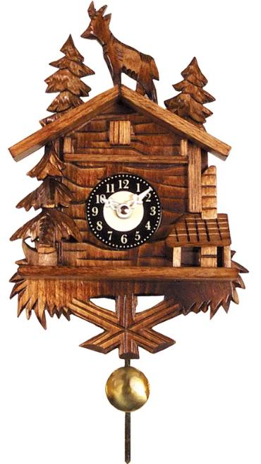Battery-operated, wooden cuckoo clock.