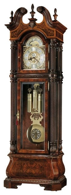 Wooden, victorian-style grandfather clock.