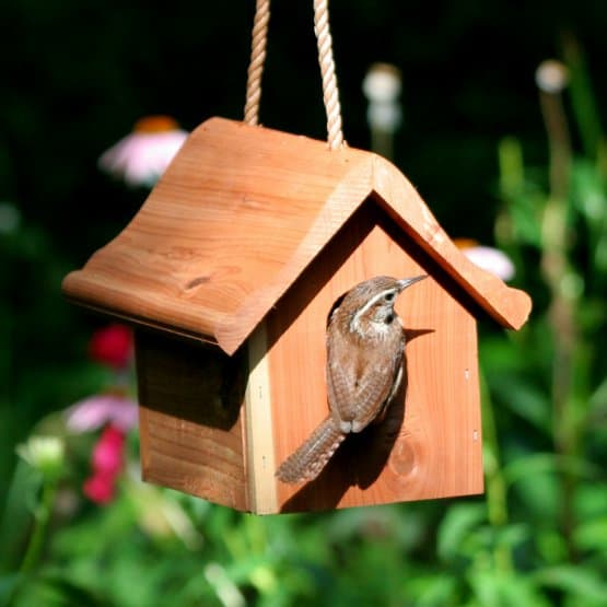 A small, wooden hanging birdhouse.