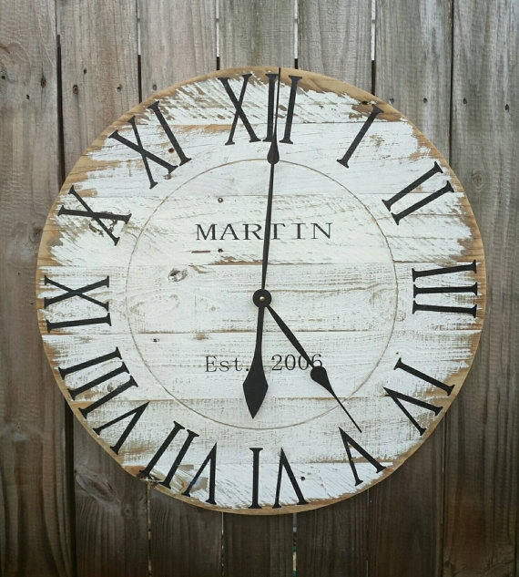 Round, wooden rustic-style clock with numbers in Roman Numerals.