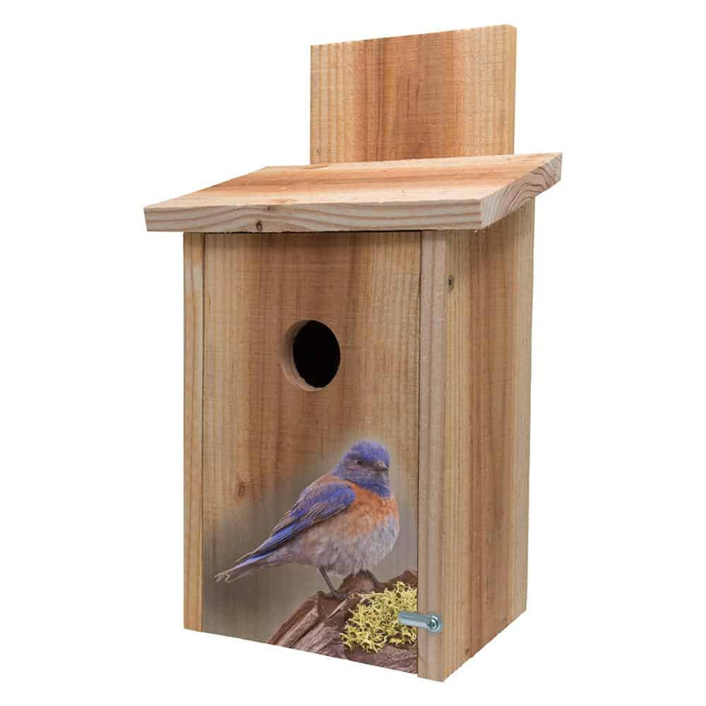 A thick and durable, wooden birdhouse with one hole.