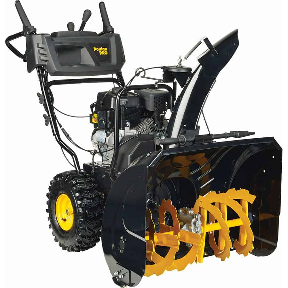 Electric snow blower with speed controls.