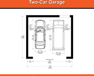 Illustrated diagram of 2-car garage dimensions