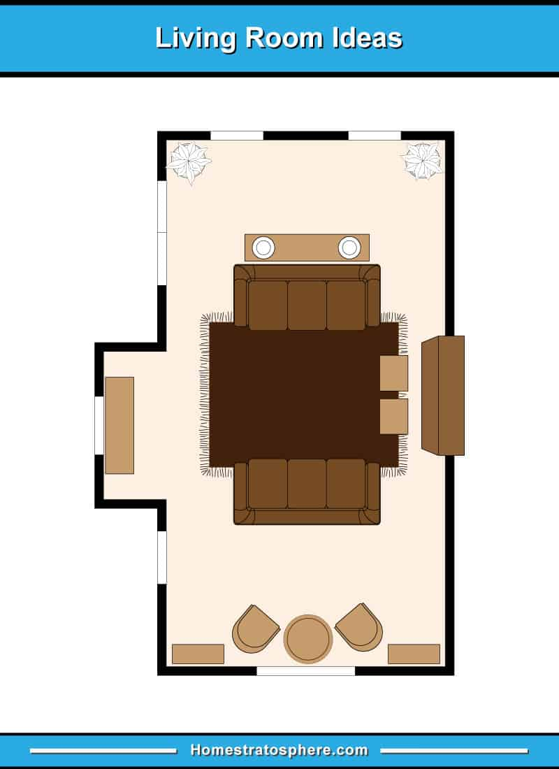 Living room floor plan with two sofas and two ottoman seats