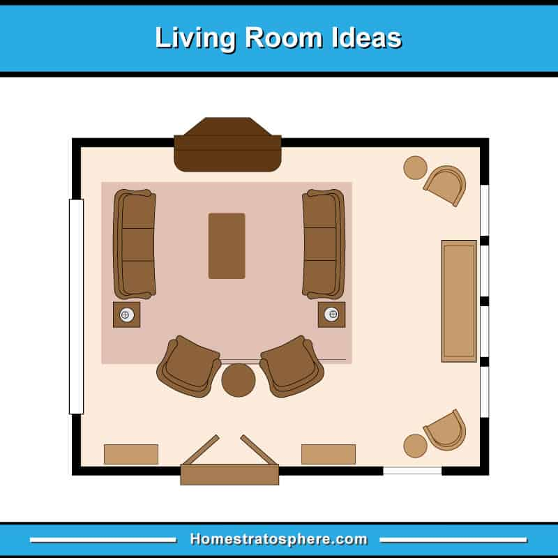 Living room floor plan with two sofas with arched chair arrangement