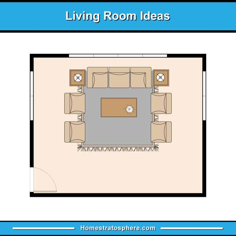 Living room floor plan with one sofa, three tables and four chairs