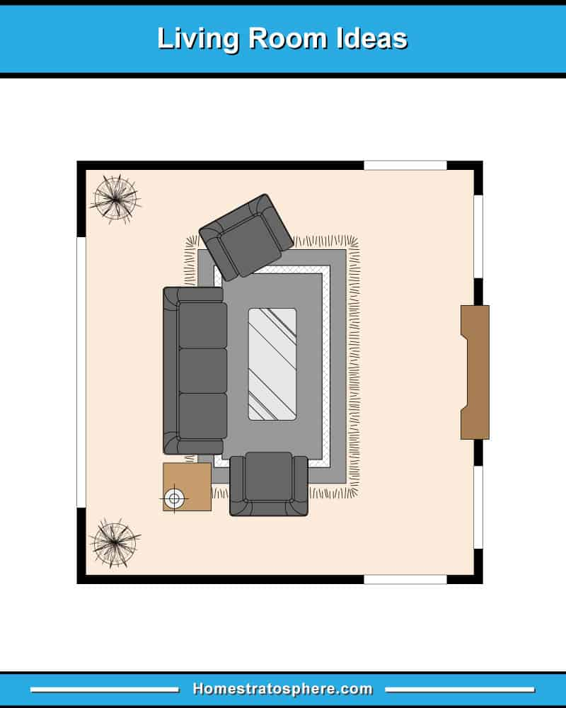 Small living room floor plan layout with sofa and 2 chairs (facing a TV)