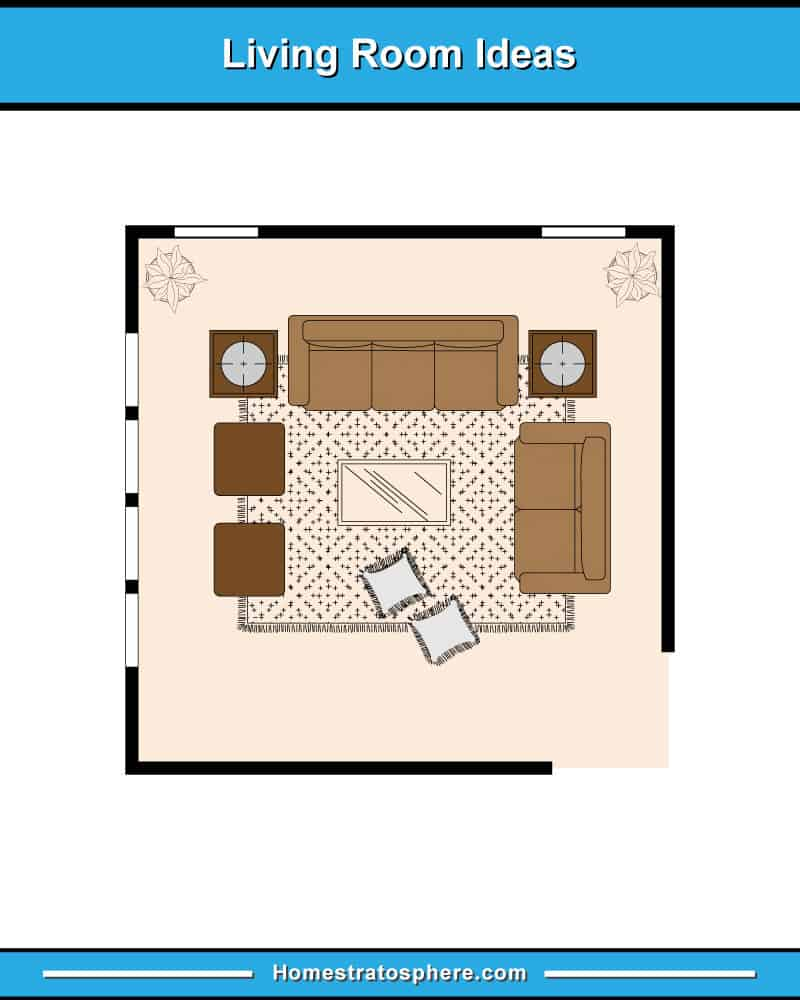 Living room furniture layout with sofa, loveseat and two armchairs