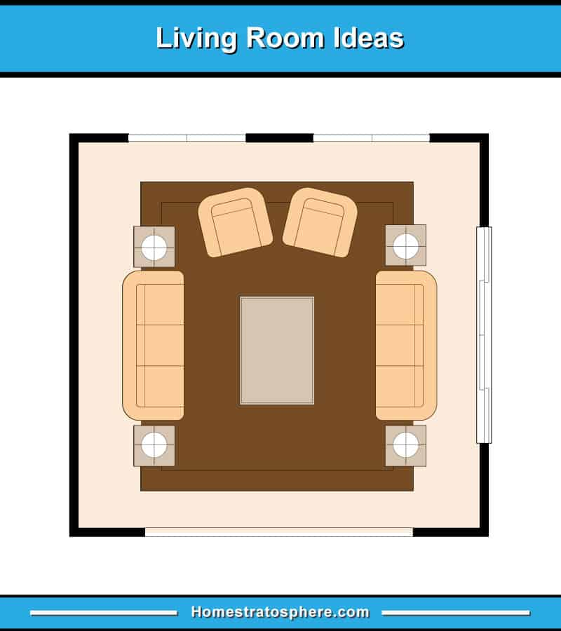 Living room layout with 2 full sofas facing one another plus 2 armchairs
