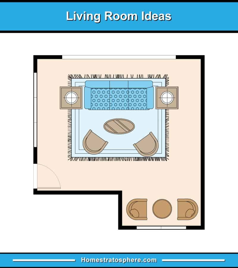 Living room layout with sofa with 2 end tables facing 2 armchairs on an area rug