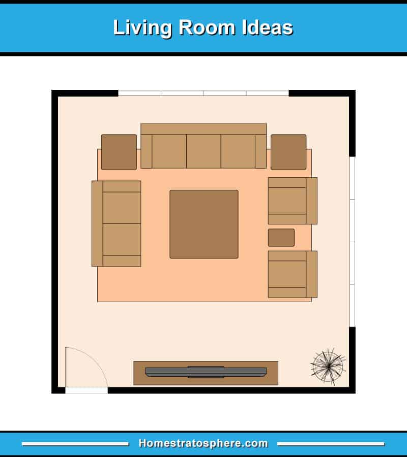Living room layout with sofa, loveseat, 2 armchairs and a TV