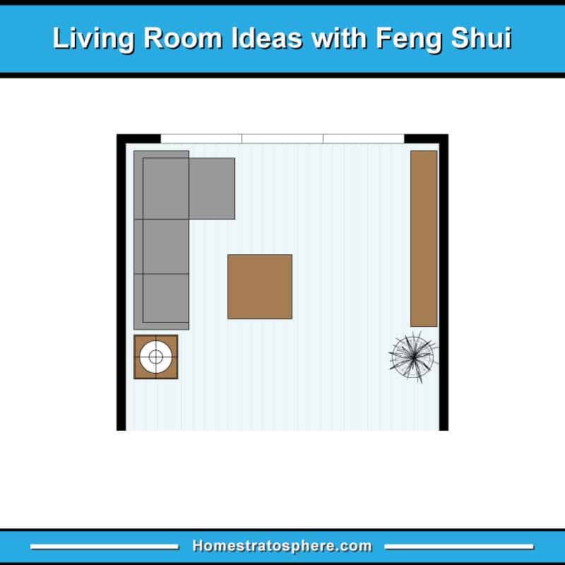 Living room feng shui layout with sectional sofa