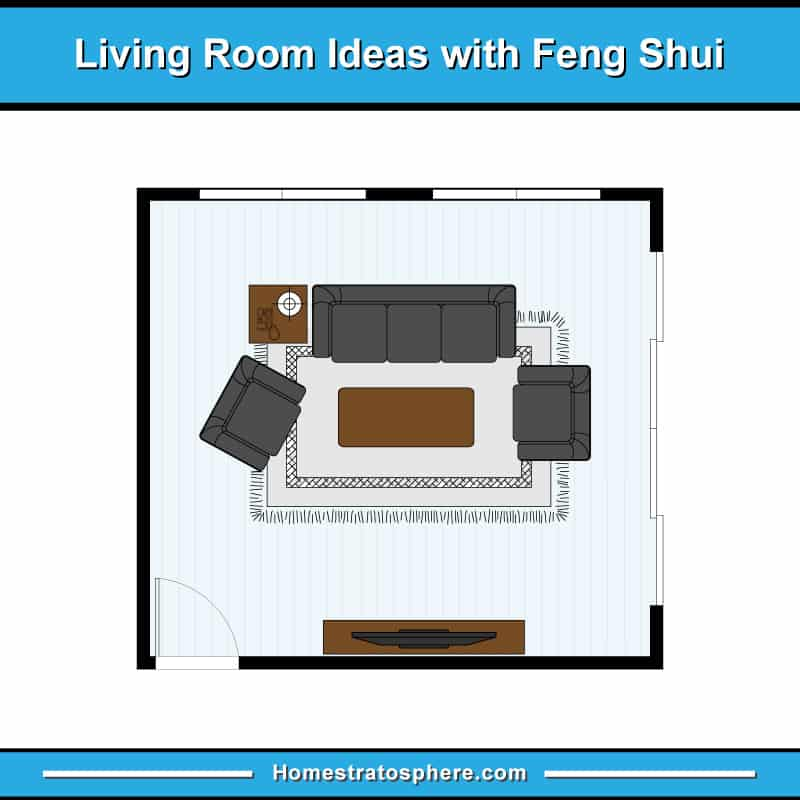 Feng Shui Living Room Layout With Sofa, Two Armchairs On Area Rug