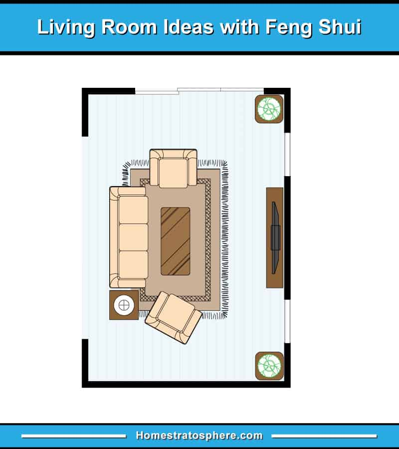 Feng shui living room layout with sofa and two armchairs facing TV