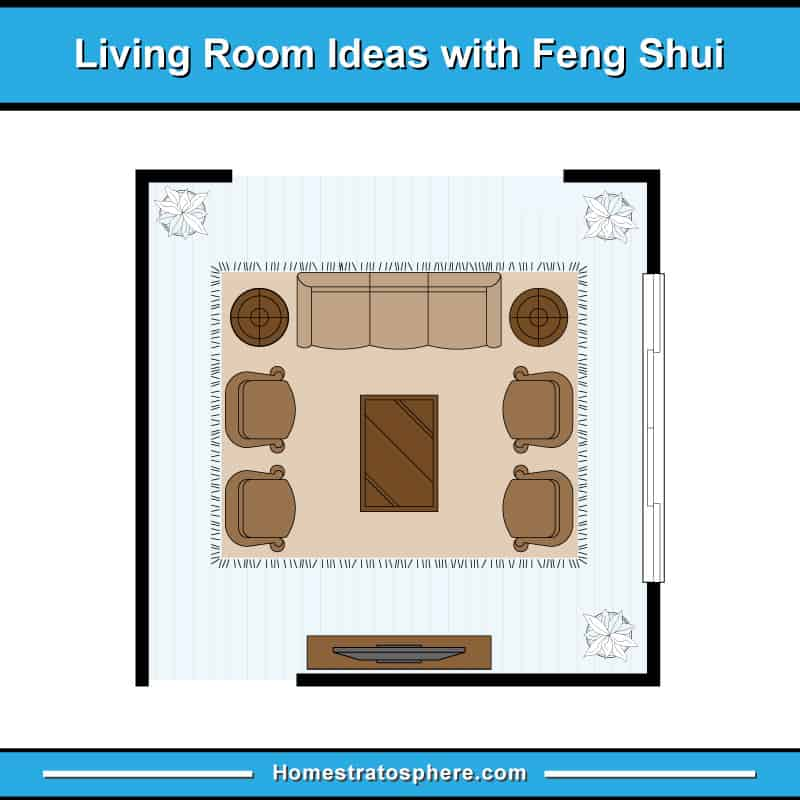 Feng shui living room layout with one sofa and four armchairs in large formal living room space
