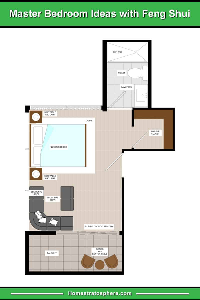 Large feng shui primary bedroom with sectional sofa, balcony and en suite.