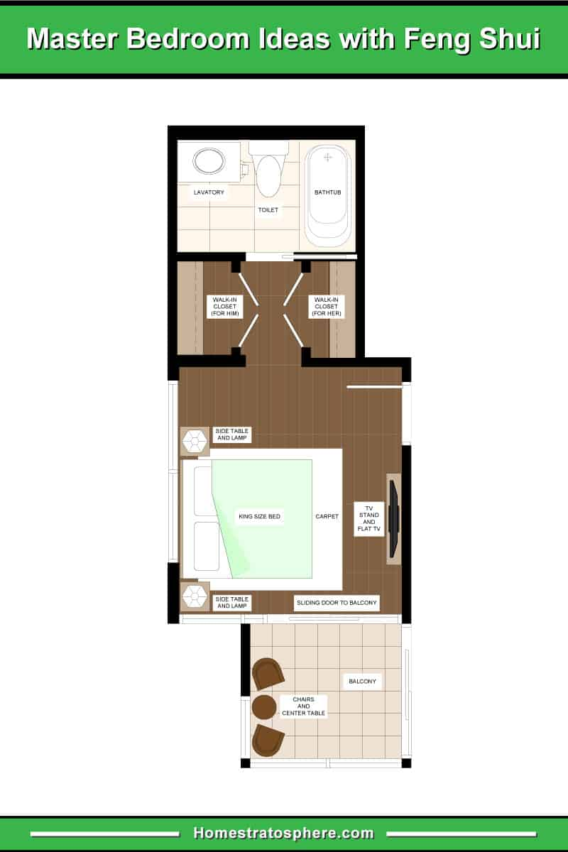 Small feng shui primary bedroom layout with TV, balcony and en suite.