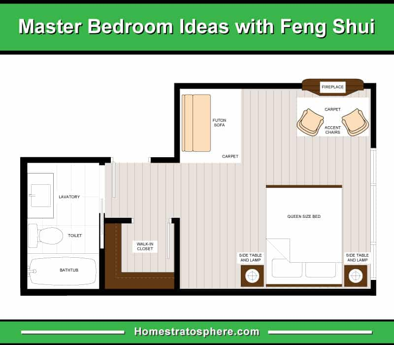 Primary bedroom in feng shui layout with futon, reading area, small walk-in-closet and bathroom.